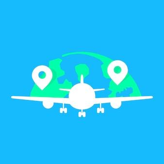 흰색 acft 동체가 있는 글로벌 항공사. 관광 휴가 여행, 전세, 속도, 이륙, 항해, 날개의 개념. 파란색 배경에 평면 스타일 현대 로고 그래픽 디자인 벡터 일러스트 레이 션