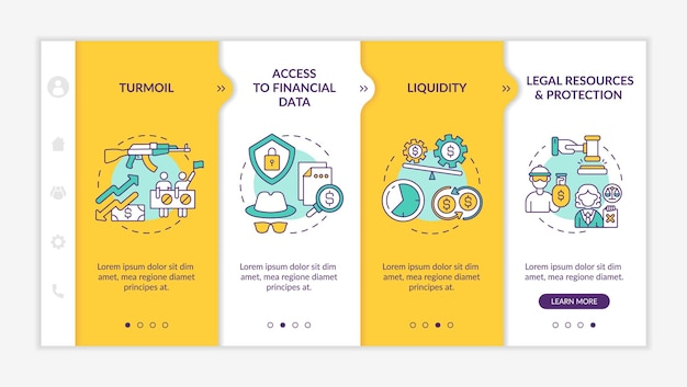 Global asset challenges onboarding vector template. responsive mobile website with icons. web page walkthrough 4 step screens. access to financial data, turmoil color concept with linear illustrations