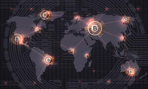 글로벌 비트 코인. 암호화 통화 블록 체인 기술 및 세계지도. 암호화 통화 무역 벡터 추상적 인 배경