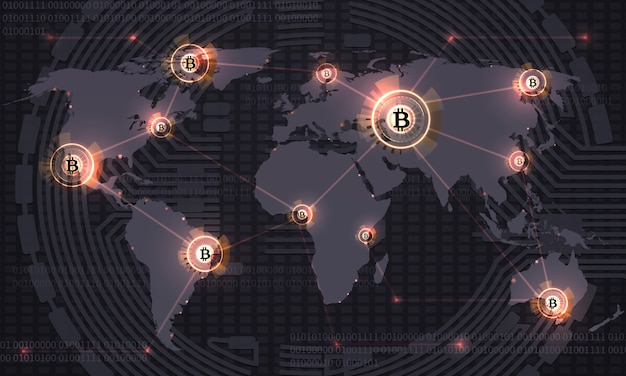Global bitcoin. crypto currency blockchain technology and world map. crypto currency trade vector abstract background