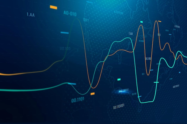 Global business background with stock chart in blue tone