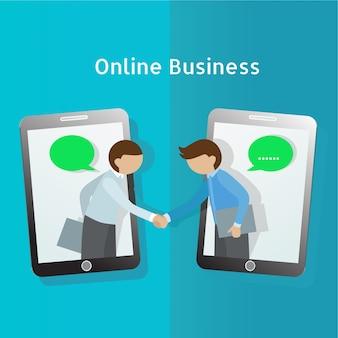 Global business. business man handshake through mobile phone