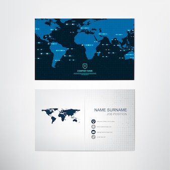 Global business card template,contact and company card