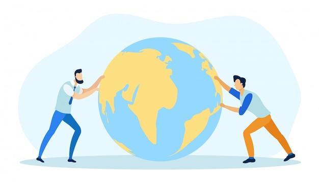 Global business concept flat cartoon vector illustration