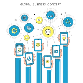 Global business concept with devices in thin line style