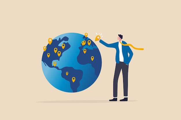 Global business expansion, open company branches, franchise in new location to cover all continent, growing business worldwide concept, businessman ceo put new branch pin on world map across globe.
