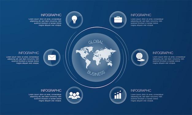 アイコンと青色の背景にテキストでグローバルビジネスインフォグラフィック