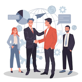 Global business partnership flat  illustration
