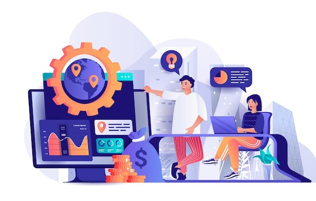 Global business strategy flat design concept illustration of people characters