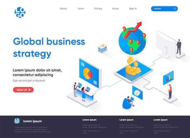 Изометрическая целевая страница глобальной бизнес-стратегии