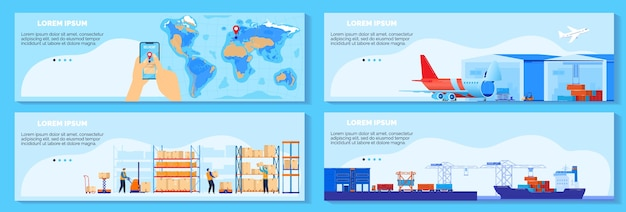 Global chain supply, logistic delivery service vector illustration. cartoon flat infographic cargo shipment banner collection with worldwide delivering management, shipping by ship, air concept set