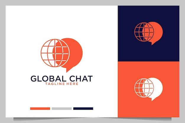 Глобальный чат современный дизайн логотипа