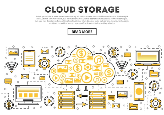 Global cloud storage linear style infographics