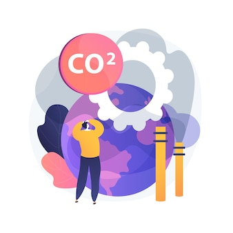 글로벌 co2 배출량 추상적 인 개념 그림. 전 세계 탄소 발자국, 온실 효과, co2 배출량, 국가 비율 및 통계, 이산화탄소, 대기 오염