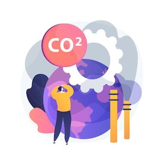 Illustrazione di concetto astratto di emissioni globali di co2. impronta di carbonio globale, effetto serra, emissioni di co2, tasso e statistiche nazionali, anidride carbonica, inquinamento atmosferico