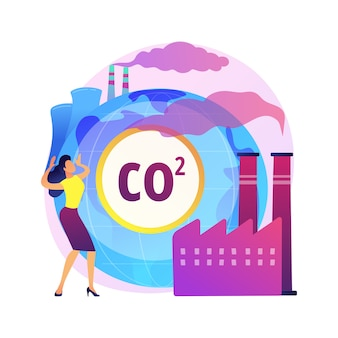 Global co2 emissions abstract concept   illustration. global carbon footprint, greenhouse effect, co2 emissions, country rate and statistics, carbon dioxide, air pollution