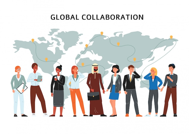 Global collaboration - group of cartoon people standing by world map