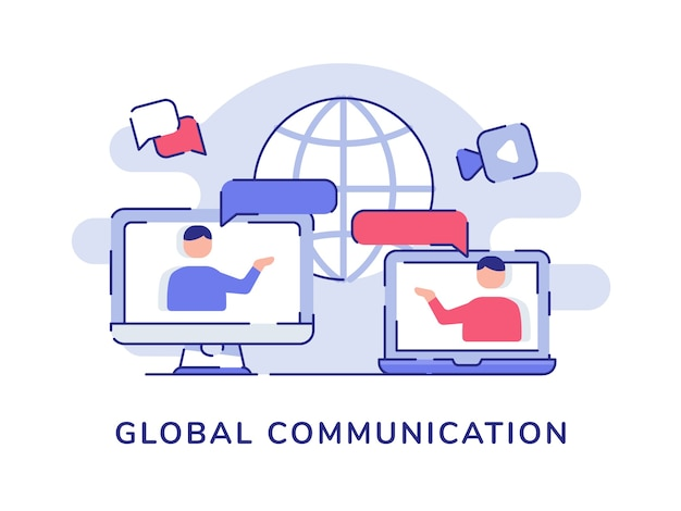 Global communication concept people interaction discussion talk on display computer laptop screen white isolated background