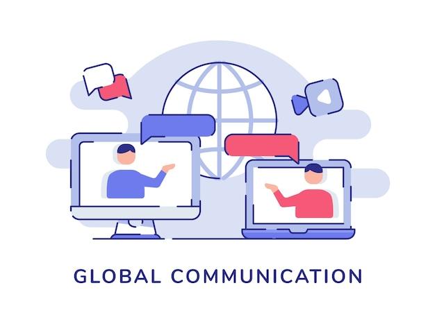 Глобальная коммуникационная концепция взаимодействия людей обсуждение разговора на экране ноутбука дисплея компьютера белый изолированный фон