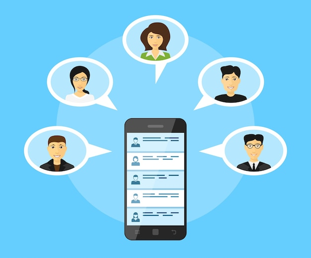 Концепция глобальной коммуникации, изображение мобильного телефона с аватарами людей, иллюстрация стиля