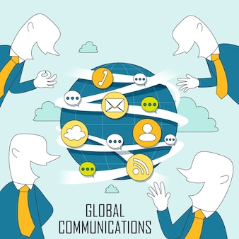 Global communication concept in thin line style
