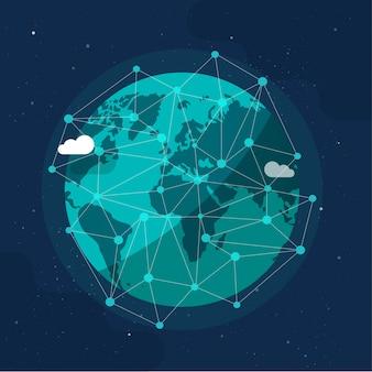 宇宙の概念または地球インターネット社会の世界的なネットワーク漫画イラスト現代から地球の周りのグローバルコミュニケーション未来技術ビジネス