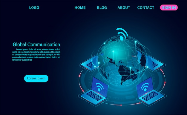 Global communication internet network around the planet web template