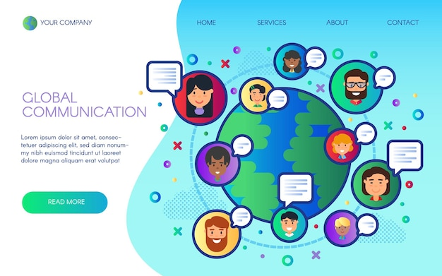 グローバルコミュニケーション着陸ウェブサイトページベクトル漫画フラットデザイン。世界的なソーシャルwi-fiネットワーク、テクノロジー、サイバースペース、オンラインチャット、5gインターネットサービス会社、衛星が信号を送信