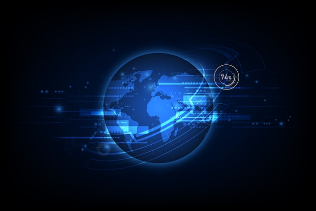 Global communication technology abstract, world telecoms background