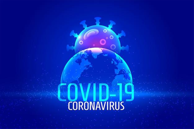 Global coronavirus pandemic background in blue color