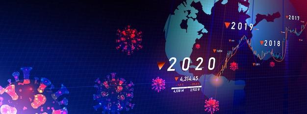 コロナウイルスによって引き起こされる世界的な危機。 2020年の株式市場の暴落を伴う景気後退の概念