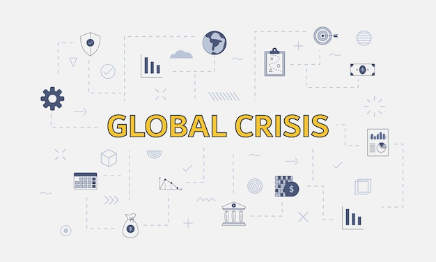 Global crisis concept with icon set with big word or text on center vector illustration