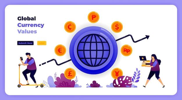 은행 금융 시스템에서 글로벌 통화 거래 교환.