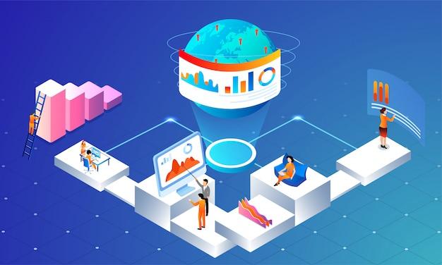 Global data analysis concept.