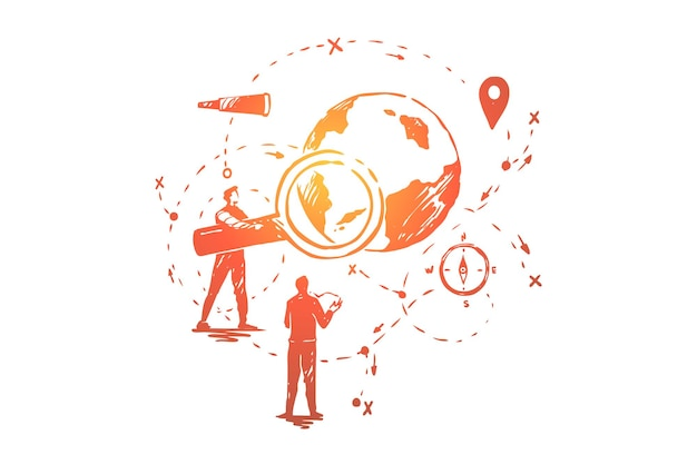 Global data analysis, seo research, navigation system development illustration