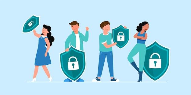 글로벌 데이터 또는 개인 데이터 보안, 사이버 데이터 보안 온라인 개념, 인터넷 보안 또는 정보 개인 정보 보호 및 보호 아이디어, 절연 평면 아이소 메트릭 그림
