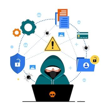 Глобальная безопасность данных, безопасность личных данных, иллюстрация концепции онлайн-безопасности кибер-данных, безопасность в интернете или конфиденциальность и защита информации.