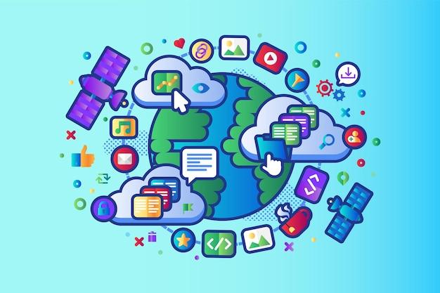 グローバルデータソーシャルネットワーク5gインターネットベクトルフラットデザイン。地球軌道上を移動する世界的なwi-fiインターネット衛星ナビゲーションシステム、クラウドストレージサーバーの運用コンセプト。ウェブサイトアプリテンプレート