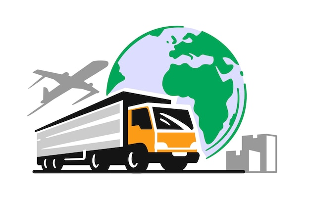 Global delivery truck with airplane