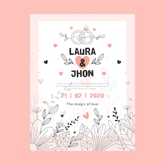 Global design wedding invitation with leaves