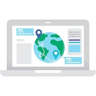 Значок вектора веб-приложения навигации глобального назначения