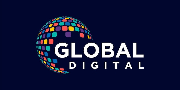 Глобальный шаблон дизайна цифрового логотипа