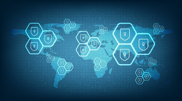 Global digital protection and safe the world background