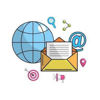글로벌 전자 메일 메시지 기술 아이콘