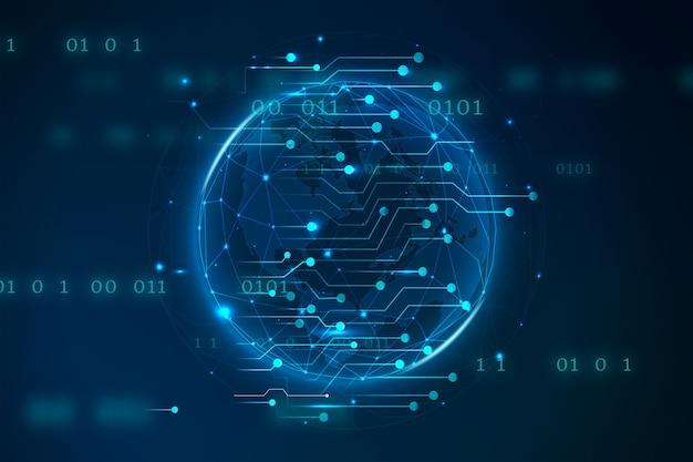 Глобальная земля голубая технология цифровая