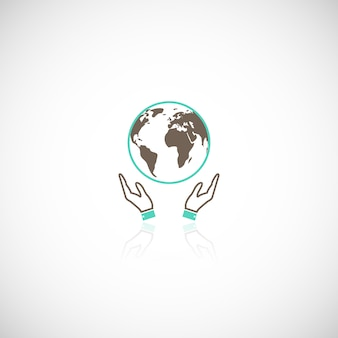 Global eco earth human collective support emblem logo pictogram with hands graphic reflection vector illustration