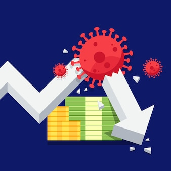 Global economic crisis due to the covid19 outbreak concept decorative with stock graph broken by coronavirus flat design style vector illustration