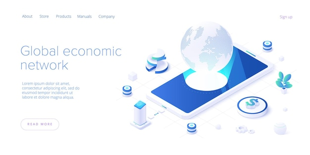 Global economic network in isometric  landing page. world economy or global financial map concept. international business. web banner layout template.