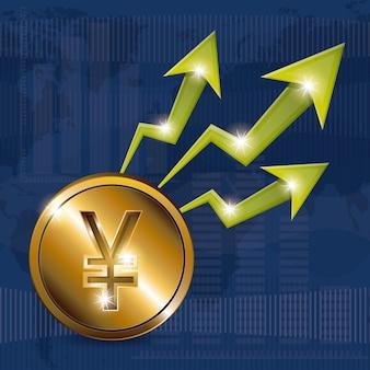 Global economy concept with money icons