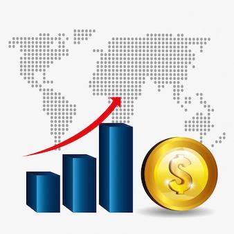 Global economy graphic on grey